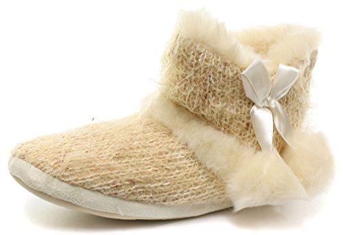 Dunlop Bethan Donna Stivali Pantofole, Beige