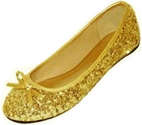 New Womens Sequins Ballerina Ballet Flats Shoes 4 Colors Available (9/10, Gold Sequins 2001)