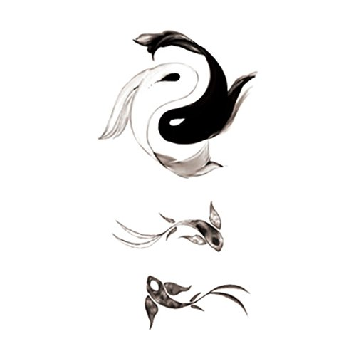 Amazon Com Set Of 5 Waterproof Temporary Fake Tattoo Stickers Grey Black Fish Tachi Taiji Yin Yang Beauty