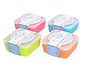 Frego BPA-Free Glass Food Storage Container, 2 Cup, Variety Pack - Blue, Orange, Lime Green, Honeysuckle
