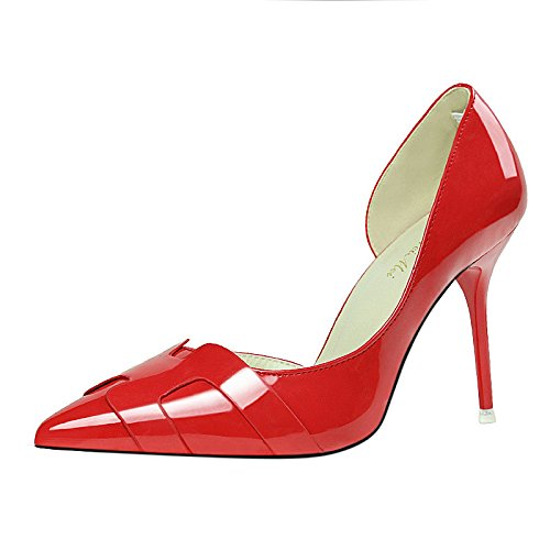 with heel mouth high fashion thin shoes red pointed leather color mouth solid shoes single shallow Patent heels Korean fine shallow BwPqgO