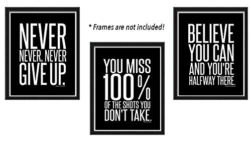 Set of 3 Mini (8 X 10 inch) Motivational/Inspirational Quote Wall Art Posters – Black and White Typographic Ready-to-Frame Wall Decor for the Home, Office, Classroom or Dorm Room