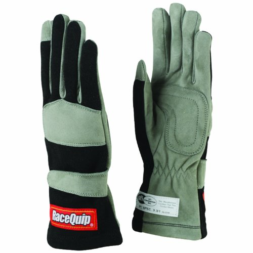 RaceQuip 351005 351 Series Large Black SFI 3.3/1 One Layer Racing Gloves