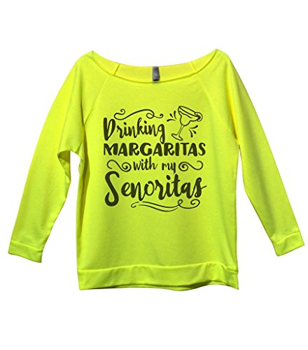 "Funny Drinking Shirts ""Margaritas With My Senoritas"" Royaltee Party Sweatshirts Small, Neon Yellow"