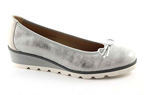 GRUNLAND Opia SC2268 Zapatos de La Bailarina de Plata Mujer de Cuña Grigio