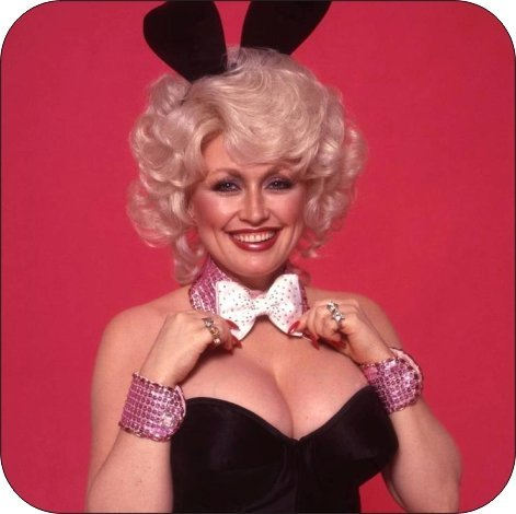 Set Of 4 Coasters With Cork Backing Dolly Parton Playboy Bunny ()