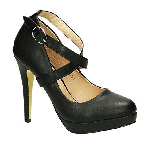 Elegante Damen Riemchen Mary Jane Abendschuhe Pumps Plateau Leder Optik High Heels Stilettos 350 Schwarz