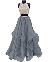 Two Piece Floor Length Organza Prom Dress Beaded Evening Gown
