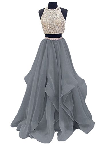 2 Piece Beaded Evening Gown - 8