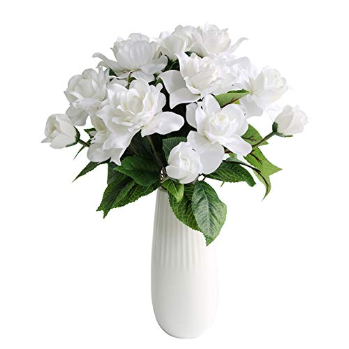 Htmeing 7 Branches Silk Gardenia Artificial Flower Wedding Decorative for Home Decoration,2 Bouquets (White)