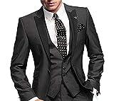 GEORGE BRIDE Slim Fit Men's Suit 3Pc Suit Jacket, Vest,Suit Pants,Black,XL