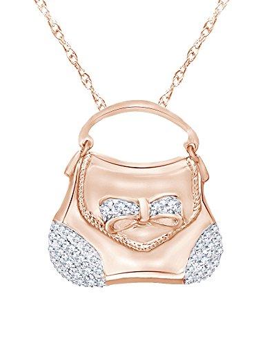 Wishrocks Diamond Handbag Pendant in 14K Rose Gold Over Sterling Silver (1/3 CT)