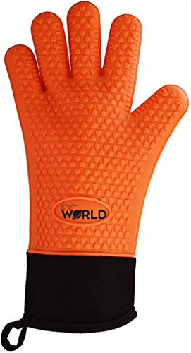 Juju World Heat Resistant Oven Silicone Mitts | Grilling Kitchen Cooking Gloves Pair | Long Cuff Waterproof | Great Baking, Barbecues & Grills - Excellent Gift - (Orange)