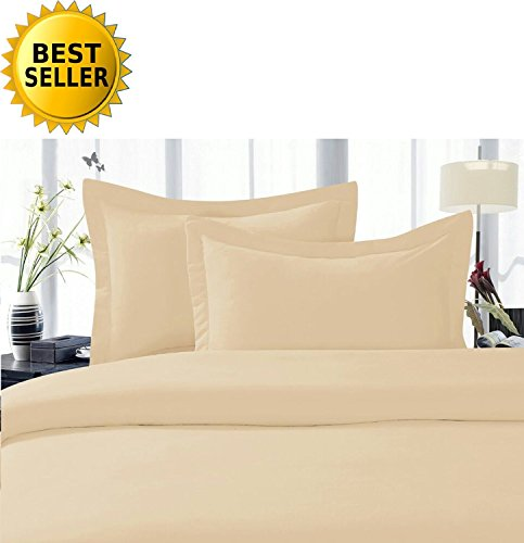 Elegant Comfort 4-Piece 1500 Thread Count Egyptian Quality Hypoallergenic Ultra Soft Wrinkle, Fade, Stain Resistant Bed Sheet Sets with Deep Pockets, Queen, Cream