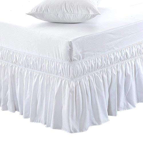 Black Friday & Cyber Monday Deals ! Ruffled Wrap Around Bed Skirt-21 Inches Drop Easy Fit Full Size White Solid (Available for All Bed Sizes and Colors)
