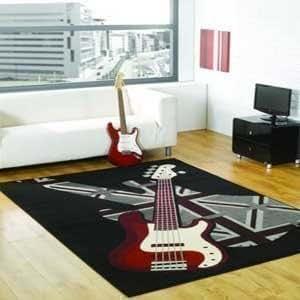 Boys Rock - Alfombra con guitarra 120 x 160cm retro