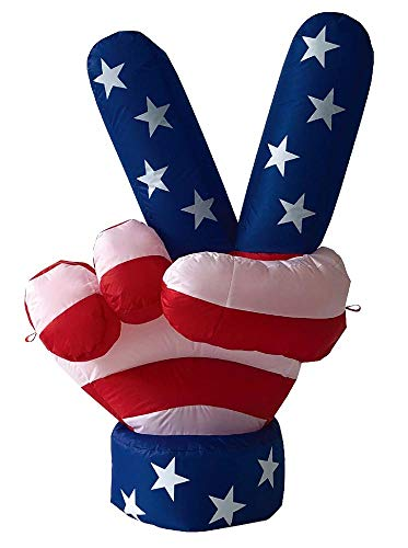 Air Blown Inflatable 4' Patriotic USA Peace Hand