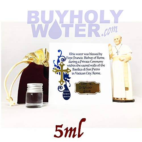 5ml Vial of Holy Water Blessed by Pope Francis from Vatican City. Must Have for Baptisms, Weddings, Exorcisms, Christenings, Evil Spirits, Haunted Houses