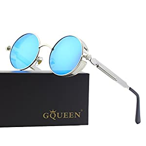 GQUEEN Retro Round Circle Steampunk Sunglasses Polarized Metal Alloy for Women Men MTS2