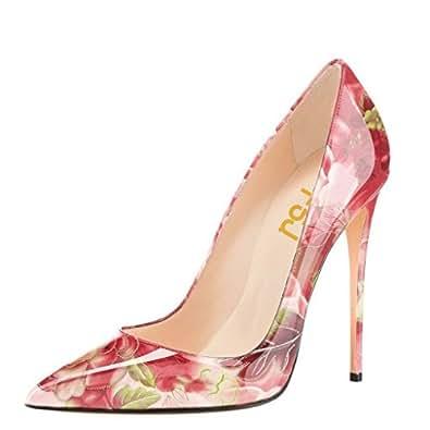 FSJ Women Fashion Pointed Toe Pumps High Heel Stilettos Sexy Slip On Dress Shoes Size 4 Peony-Bloom