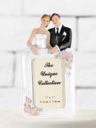 Figura para tarta, pareja de boda con marco, decoración tarta: Amazon.es: Hogar