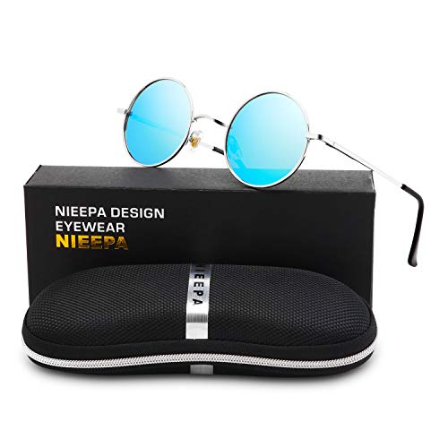 NIEEPA John Lennon Vintage Round Polarized Hippie Sunglasses Small Circle Metal Driving Sun Glasses (Blue Lens/Silver ()