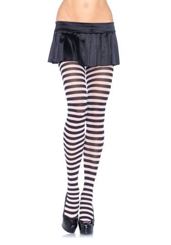 Leg Avenue, Plus Size Stripe Tights, Black 3x-4x by Leg Avenue
