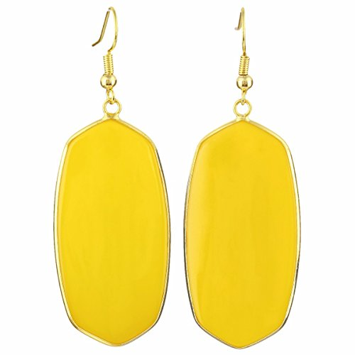 TUMBEELLUWA Crystal Quartz Stone Dangle Hook Earrings Oval Gold Plated, Yellow Crystal (Yellow Earring Fish)