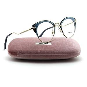 Miu Miu MU 52PV Cateye Metal Women Eyeglasses (Pale Gold Azure Blue U661O1, 48)