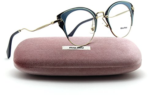 Miu Miu MU 52PV Cateye Metal Women Eyeglasses (Pale Gold Azure Blue U661O1, - Miu Eyewear Prescription Miu