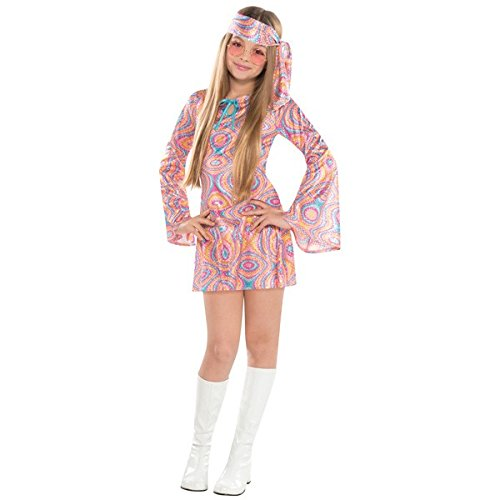 Disco 70's Party Pink Diva Hippie Girl's Costume, Polyester Fabric, Children's Medium (8-10), 5-Piece (Hippie Dress Up)