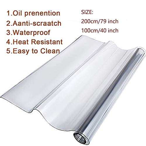 Clear Table Protector Clear PVC Table Cover Protector 1.5mm/2mm Thick Table Pads for Kitchen Dining Room(79 x 40 Inch)