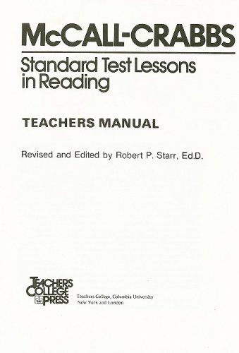 McCall-Crabbs Standard Test Lessons in Reading, Teachers Manual/Answer Key
