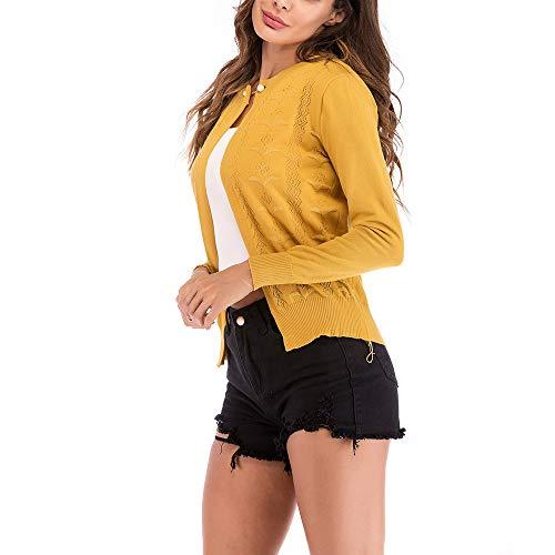 Rayas Primavera Chaquetas de Cortas de de Ropa Punto a Hueco de Invierno Cárdigans Prendas Amarillo otoño Mujer Fiesta otoño Elegantes Señora PAOLIAN de Moda Mujer para Abrigo zx8vTTwq