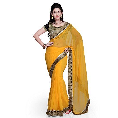 Yellow Sari (Janasya women's Yellow color chiffon)