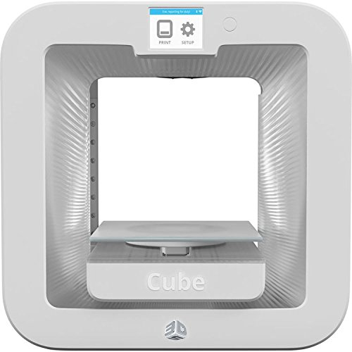 "3D Systems Cube 3rd Generation Wireless 3D Printer, 6 x 6 x 6"" Build Volume, 70 Microns Resolution, Dual Extruders, White"