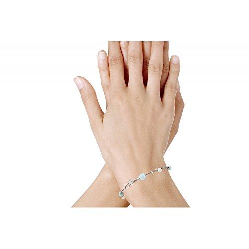 Les Poulettes Bijoux - Bracelet Câble Perles Larimar et Cristal de Roche