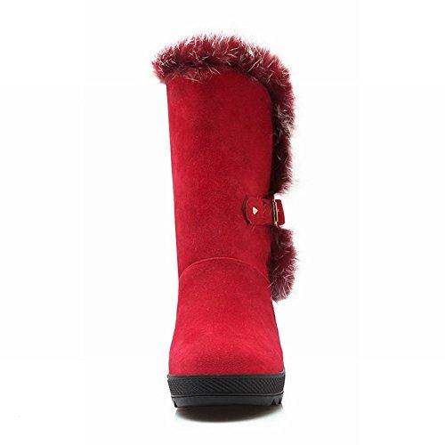 Carolbar Womens Faux Fur Buckle Fashion Charm Comfort Cold Weather Warm Snow Boots Red qTNcGlsvL