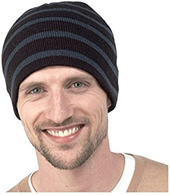 Mens Striped Knitted Beanie Hat ~ Winter Hat