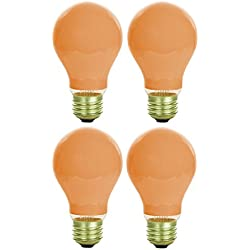 Pack Of 4 40 Watt A19 Ceramic Orange Medium Base Standard Household Incandescent Orange Colored Light Bulb