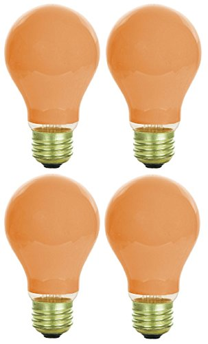 Pack Of 4 40 Watt A19 Ceramic Orange Medium Base Standard Household Incandescent Orange Colored Light Bulb -