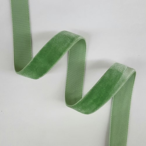 5/8'' Velvet Ribbon Selling Per 7 Yards in Sage Green