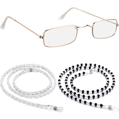1 Pair Small Old Man Costume Glasses Granny Dress up Eyeglasses with 2 Beaded Sunglasses Chains (Rectangular Frame) -