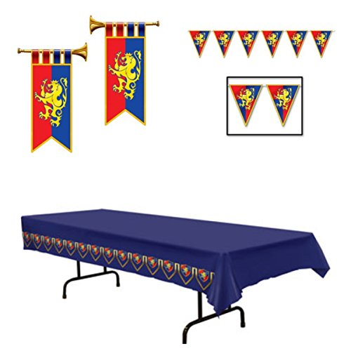 MEDIEVAL PARTY Decor - TABLECLOTH Pennants & 2 Trumpet Banner Cutouts - MIDDLE Ages KNIGHTS (Medieval Party Decorations)