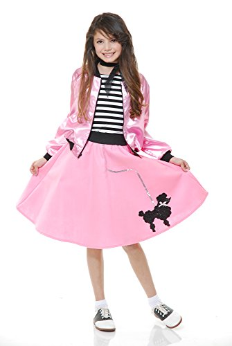 Charades Poodle Skirt With Elastic Waistband Girl's Costume, Pink, -