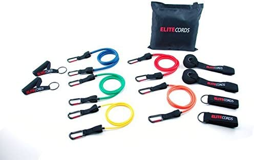 Elite Cords Resistance Bands 5 pack with Travel Bag with Jump Rope