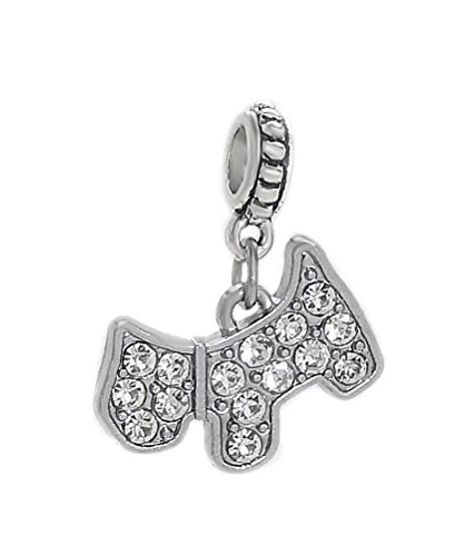 J&M Dangle Dog with Crystals Charm Bead for Bracelets (Pandora Terrier Charm)