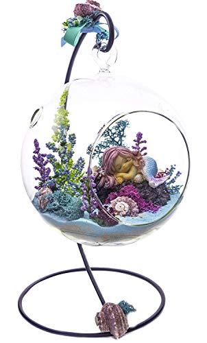 "Miniature Mermaid Terrarium Kit | Rockin' Mermaid | Top Collection Mermaid Series | Complete Terrarium Gift Set with Stand | 6"" Glass Globe Terrarium Container 