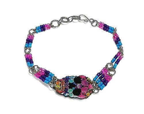- Mia Jewel Shop Day of the Dead Sugar Skull Beaded Silver Chain Bracelet (Floral/L.Blue/Purple/H.Pink)