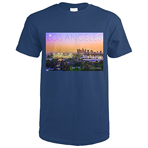 Los Angeles, California - Sunset and Dodgers Stadium (Navy Blue T-Shirt (Dodger Blue T-shirt)